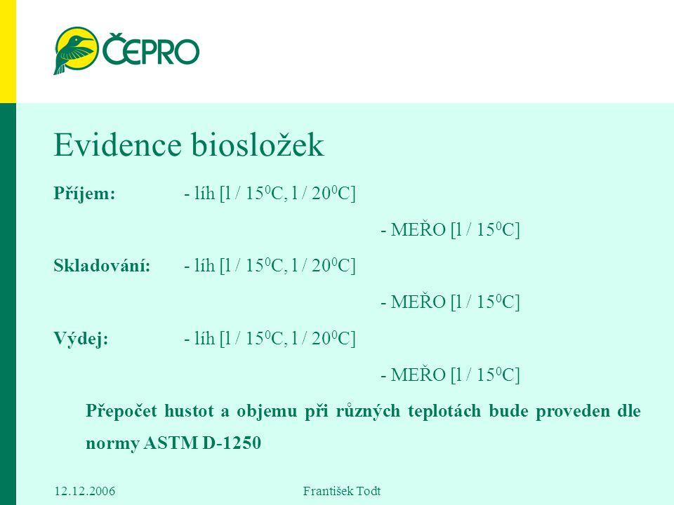 Evidence biosložek Příjem: - líh [l / 150C, l / 200C]